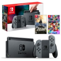 Nintendo Switch Gray + Game ZELDA BOTW & MARIO KART 8 DELUXE