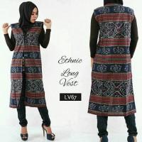 Ethnic Long Vest Outer Outwear Tenun Cardigan Cardi