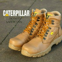 CATERPILLAR SKYNET SAFETY BOOT KULIT ASLI STEEL TOE / FREE KAOS KAKI