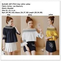 Baju Atasan Sabrina Off Shoulder Wanita Korea Import Blue White Yellow