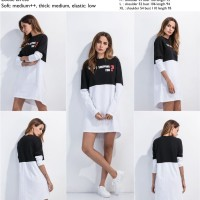 blouse, dress mini, tumblr, tunik, lengan panjang hitam putih import