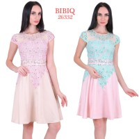 Party Dress Satin Kombinasi Brokat 26332