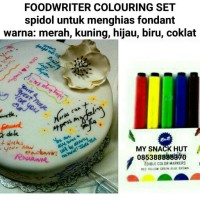 SPIDOL FONDANT 5 WARNA - FOOD WRITER - FONDANT COLOURING PEN SET