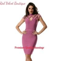Jual Criss Cross Bandage Premium Quality Mauve Midi Dress Wanita IMPORT Murah