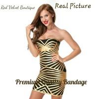 Jual Gold Striped Sexy Bandage Premium Quality Mini Dress Cleopatra IMPORT Murah