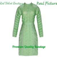Jual Green Studs Long Sleeve Premium Quality Bandage Dress IMPORT Murah