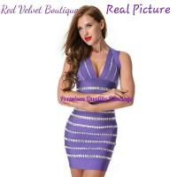 Jual Rhinestone Purple Mini Sexy Bandage Dress Women Clothes IMPORT Murah
