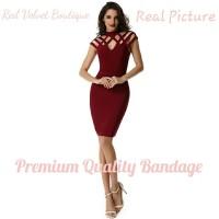 Jual Criss Cross Bandage Premium Quality Wine Red Midi Dress IMPORT Murah