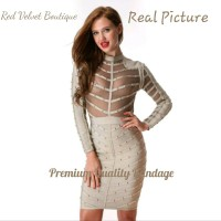 Jual Grey Studs Long Sleeve Premium Quality Bandage Dress IMPORT Murah