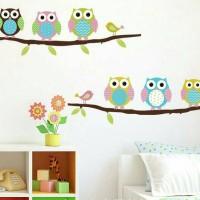 Wallpaper wall sticker dinding tembok motif burung hantu lucu-KHM049