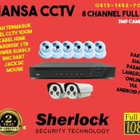 Jual PROMO PAKET CCTV SHERLOCK FULL HD 3MP LENS 6 INDOOR - 2 OUTDOOR Murah