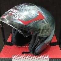 Helm KYT Kyoto Gunmetal Solid Halface Grey Polos Gray