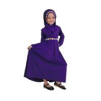 Baju Muslim Gamis Anak Perempuan Warna Ungu Lucu