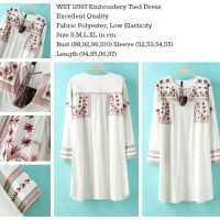 Jual 11597 - Embroidery Tied Dress (size S) Murah