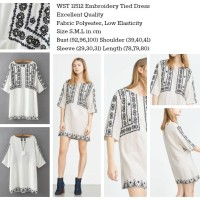 Jual 11512 - Embroidery Tied Dress (size S) Murah