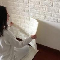 Wall Sticker Wall Paper 3D Motif Bata Putih Brick