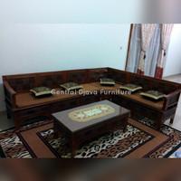Kursi Tamu Sudut Jati Ukiran Model Asmat Furniture Asli Jepara