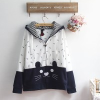 Jaket Wanita Fishbone and Cat Hoodie Korean Japan Style Kucing Lucu