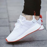 Adidas NMD R2 White Red Premium Original / sepatu fitness / sneakers