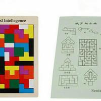 Jual Mainan Edukasi Russian Block Wood Intellegence Toys Tetris Brain Game Murah