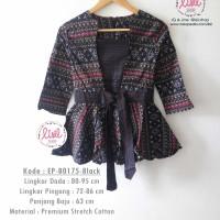 Jual Atasan Batik Wanita/Batik Peplum Lengan Tanggung/Batik Babydoll Hitam Murah