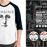 Jual Raglan John Lennon Beatles - Tshirt - Baju Kaos Oblong Distro Rivrez Murah