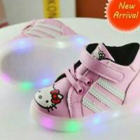 Sepatu Anak LED / Sepatu Lampu / Hello Kitty LED boot PINK size 21-30