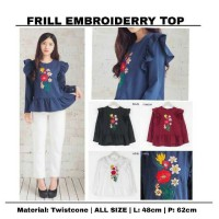 Jual frill embroiderry top Murah