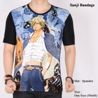 Jual Kaos Pria Lengan Pendek Anime One Piece Sanji Bandage Murah