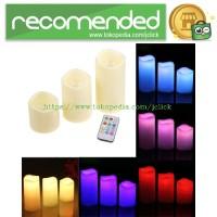 Jual Lilin LED RGB dengan Remote 3PCS - White Murah
