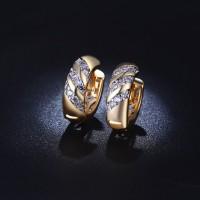 Anting Lapis Emas 18k Hoop Kecil Tebal Batu Berlian Imitasi - BE023