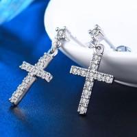 Anting Lapis Emas Putih Salib Kecil Full Batu Berlian Imitasi - BE024