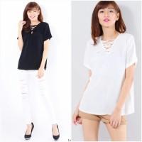 Jual Bellabelta blus AK blouse wanita twiscone black & white Murah