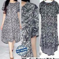 D579 Uniqlo Grey Abstract Midi Dress original branded Termurah