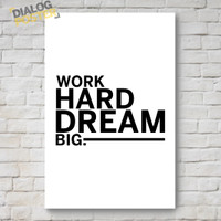 Jual Hiasan Dinding Poster Kayu - Work Hard Dream Big. 20x30 Murah