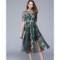 Jual DRESS PREMIUM - Tulle Gauze Flower Floral Embroidery Vintage Long Dres Murah