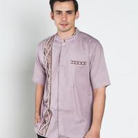 Jual Baju koko batik, busana muslim pria kualitas premium TN 38 ungu muda Murah