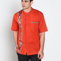 Jual Baju koko batik, busana muslim pria kualitas premium TN 38 oren Murah