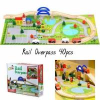 Mainan Anak - Rail Overpass Mobil Mobilan Track Race Kayu Wooden Toys