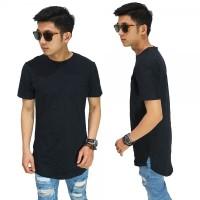 Jual Longline T-Shirt Basic Black/ kaos longshirt hitam polos termurah  Murah