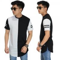 Jual Longline T-Shirt Black And White/ kaos longshirt kombinasi hitam putih Murah