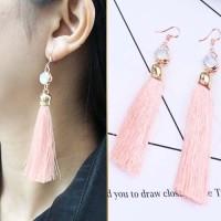 Anting Korea Tassel long Latin dance earrings Pink