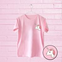 Jual Tumblr Tee / T-Shirt / Kaos Wanita Lengan Pendek UNICORN Warna Pink Murah