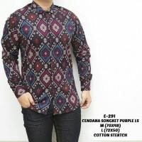 Jual Baju Kemeja Pria Songket Batik Ungu Keren Gaya Murah