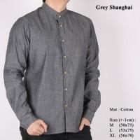 Jual Kemeja Pria Lengan Panjang Grey Shanghai Murah
