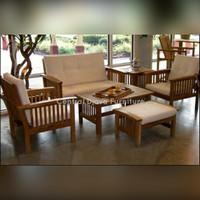 Kursi & Meja Tamu Kayu Jati Minimalis Model Jari Furniture Asli Jepara