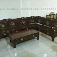 Jual kursi tamu sudut jati bunga (meja makan, dipan,nakas,sofa,lemari,duco) Murah