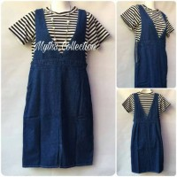 Jual Dress Denim Jeans Overall Stripe BW 16 Murah