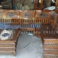 Jual kursi tamu sudut jati matahari (meja makan,dipan,nakas,lemari,bufet) Murah