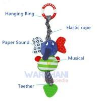 Jual Mainan bayi boneka gajah rattle musical teether gantungan stroller Murah